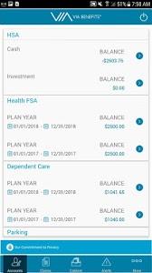 screenshot of Via Benefits Accounts version 15.0