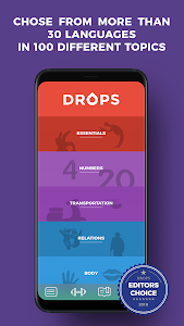 screenshot of Drops: Learn Korean, Japanese, Chinese language version 28.10