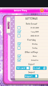 screenshot of Unicorn Diary version 3.7
