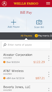 screenshot of Wells Fargo Mobile version 9.3.0.229