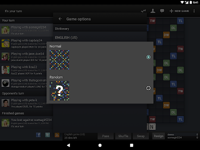 screenshot of Wordfeud FREE version 2.18.13